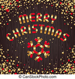 Christmas vector illustration - red & gold paper snowflake and greeting sign