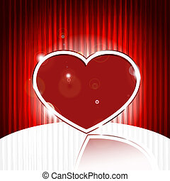 vector red heart on  abstract e background with stripes