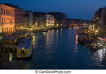 Venice by night, overlooking the Canale Grande from the...