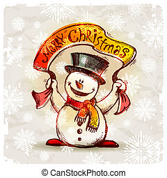 Vector hand drawn smiling snowman with holiday banner
