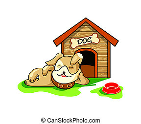 Dog house - Happy dog dreaming near his wood house isolated