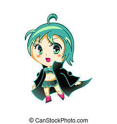 Anime girl - Cute anime little girl (chibi) in space...
