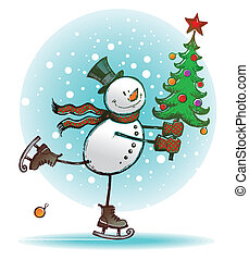 Hend drawn vector  - Skating snowman with Christmas tree