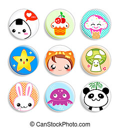 Kawaii badges - Set of badges with the cute japanese style...
