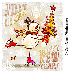 Skating happy snowman with christmas tree - hand drawn...