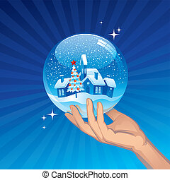 Small town in snow globe - vector holidays illustration