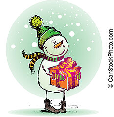 Hand drawn Snowman with gift - vector holidays illustration