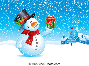 Smiling snowman with gift - vector christmas illustration