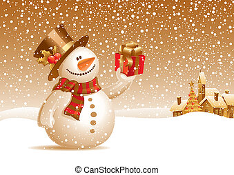 Smiling snowman with gift on a christmas landscape - vector illustration