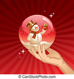 Snowman with gift in a snow globe - vector Christmas illustration