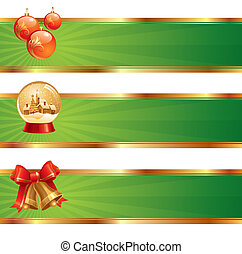 Three vector christmas banners with holidays symbols