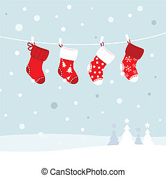 Christmas stockings in winter nature - white and red - Cute...
