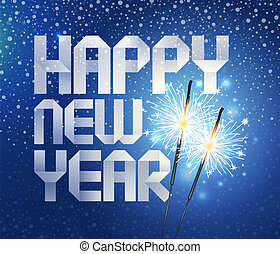 Vector chrictmas illustration - sparklers and greetin sign...