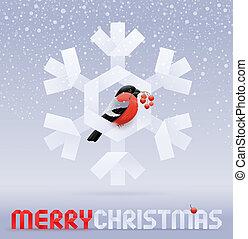 Vector Christmas illustration - a bullfinch with a rowan...