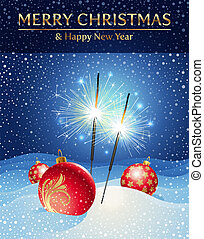 Vector holidays illustration - sparklers and Christmas baubles in snowdrift