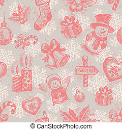 Vector seamless hand drawn Christmas background