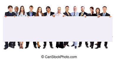 Full length of many business people in a row holding a blank...