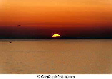 Sunset over the sea at Rodi Garganico Foggia, Puglia, Italy...
