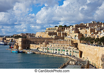 View of Valletta fortress from sea side Malta