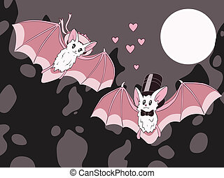 bats - Two flying white bats in love under full moon. Vector...