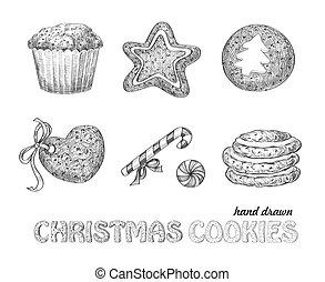 Christmas cookies - Collection of hand drawn Christmas...