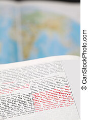 Great commission - Open Bible with selective focus on the...