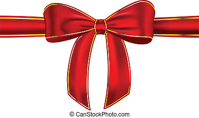 Shiny red gift ribbon with bow - Red satin ribbon with bow...