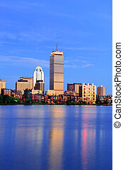 Boston Charles River - Boston city skyline at dusk with...