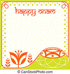 Onam card - Decorated greeting card for indian Onam holiday