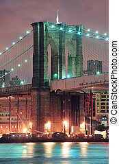Brooklyn bridge in New York City - Brooklyn Bridge closeup...