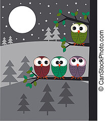 owls - four colourful owls in a tree