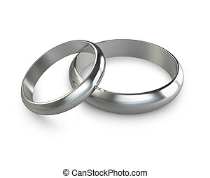 Two platinum wedding rings isolated on white background