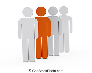 3d man leadership orange