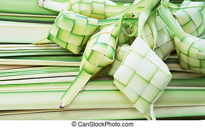 Ketupat: South East Asian rice cakes bundle, often prepared...
