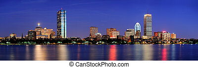 Urban city night scene - Boston city skyline with Prudential...