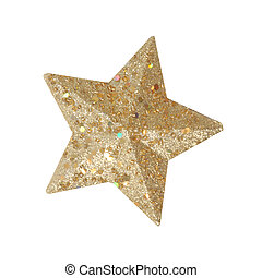 isolated christmas star - Golden Christmas star isolated on...