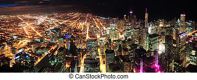 Chicago Night view panorama - Chicago downtown aerial...