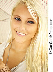 Blonde Lady With Sparkling Eyes - Face of glamorous young...