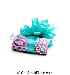 500 euro money gift isolated