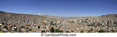 City of La Paz Bolivia from Killi Killi Viewpoint - Panorama...