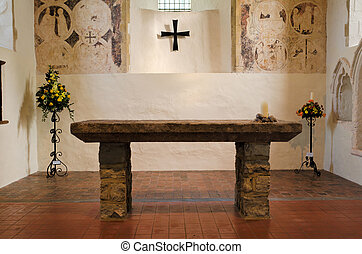 Altar Table - Stone altar table inside a church