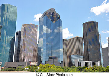 Houston Texas skyline with a bright blue sky