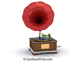 Vintage gramophone isolated