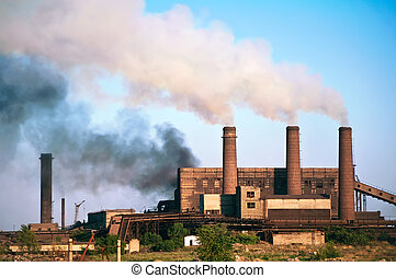 Steel factory. Pollution.