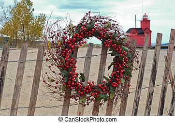 Christmas Beach Wreath - Berry holiday wreath on beach...