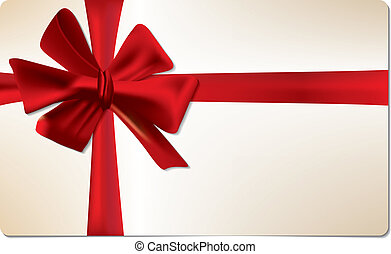 Gift card with red bow - Blank gift card with red bow for...