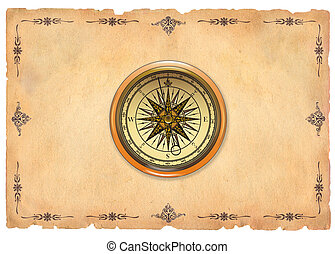 Old paper with compass
