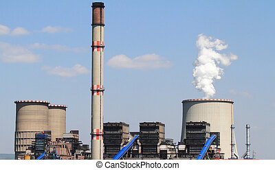 thermal power station - coal power plant with chimney and...