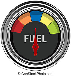 Fuel Gauge - An image of a chrome fuel gauge.
