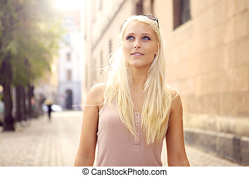 Debonair Urban Woman - Beautiful debonair young blonde urban...